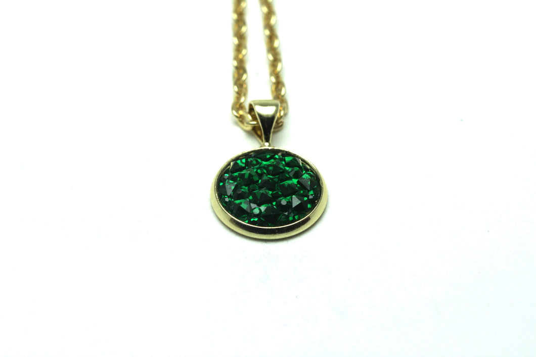 Newborn Feathers Geode Pendant Gold Emerald Geode Pendant Necklace