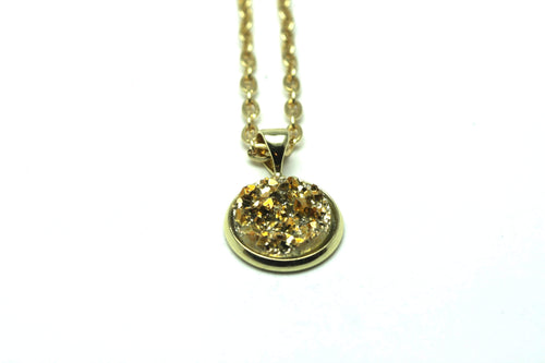 Newborn Feathers Geode Pendant Gold Gold Geode Pendant Necklace