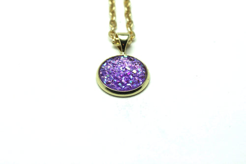 Newborn Feathers Geode Pendant Gold Purple Geode Pendant Necklace