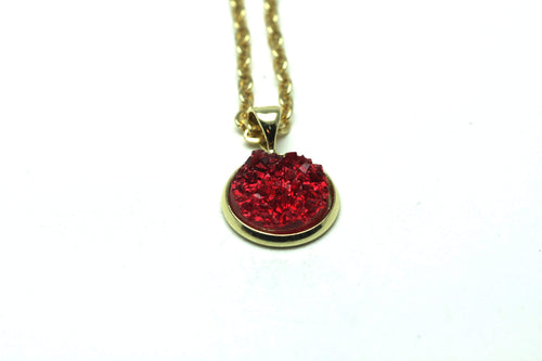 Newborn Feathers Geode Pendant Gold Ruby Geode Pendant Necklace