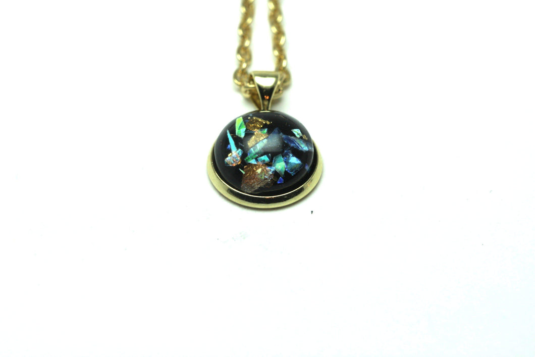 Newborn Feathers Geode Pendant Gold Starry Night Pendant Necklace