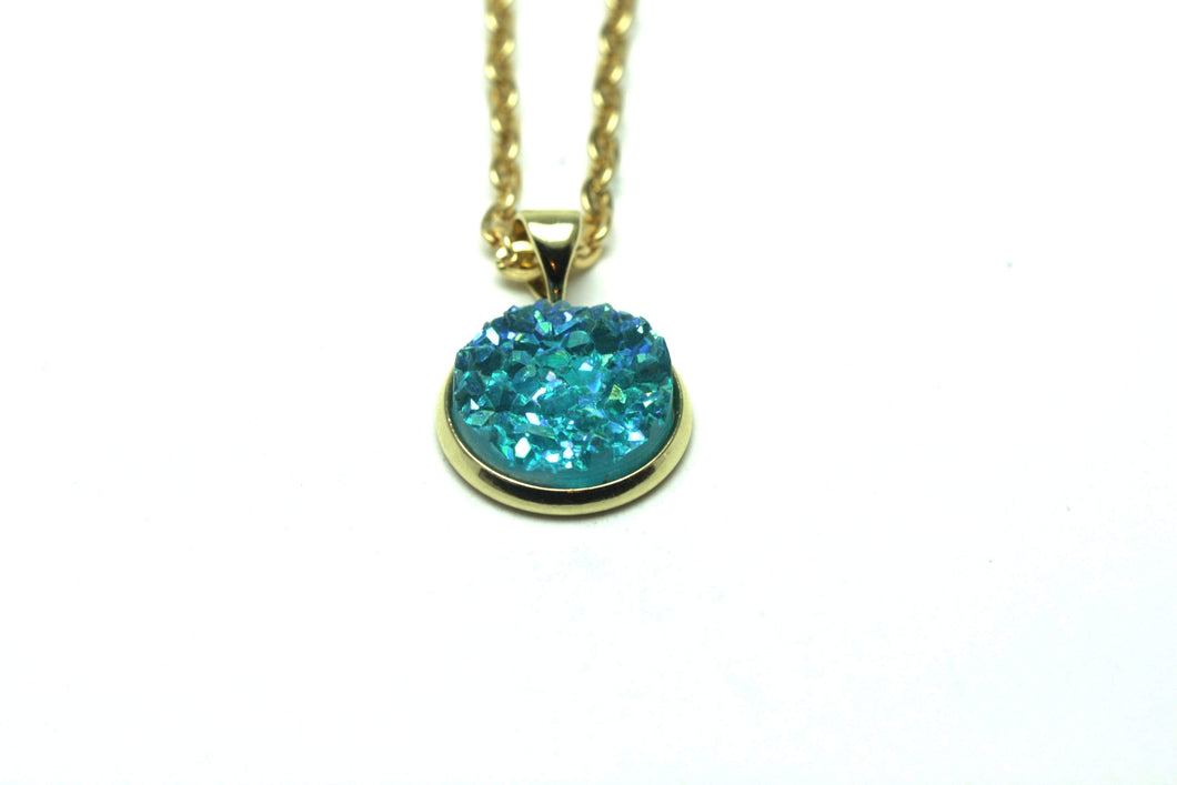 Newborn Feathers Geode Pendant Gold Turquoise Geode Pendant