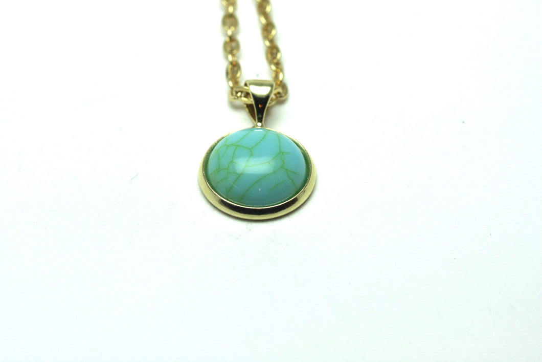 Newborn Feathers Geode Pendant Gold Turquoise Marble Geode Pendant
