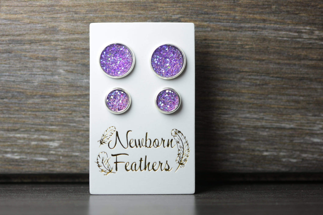 Newborn Feathers Geode Set Silver Matching Purple Geode Earrings Set