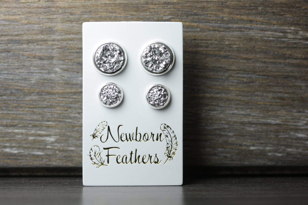 Newborn Feathers Geode Set Silver Matching Silver Geode Earrings Set