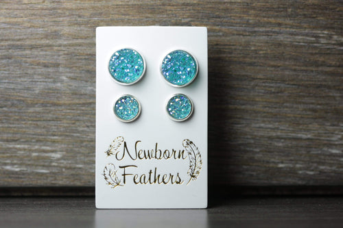 Newborn Feathers Geode Set Silver Matching Turquoise Geode Earrings Set
