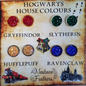 Newborn Feathers Harry Potter, Hogwarts House Colours 12mm Earring Set