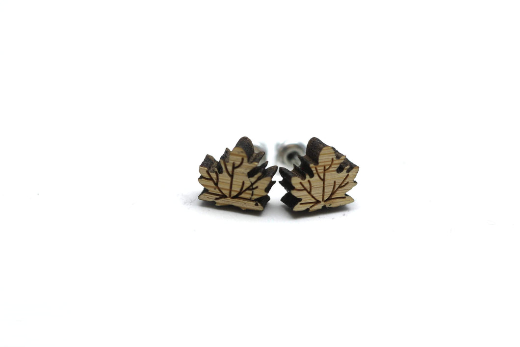Newborn Feathers Maple Leaf Canada Wooden Earrings