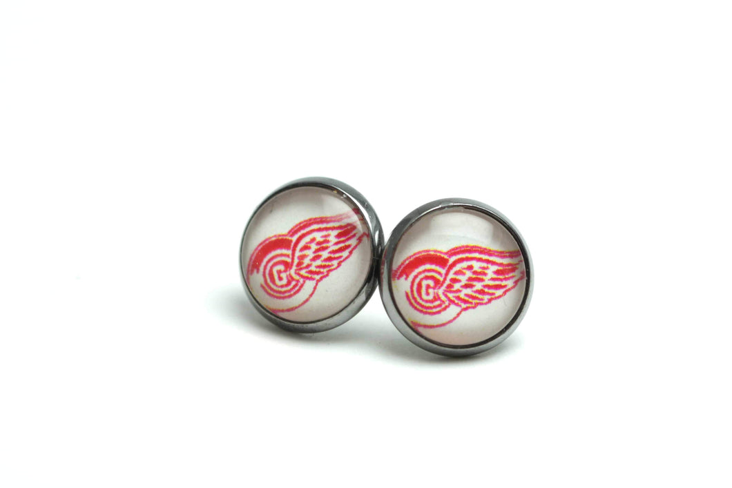 Newborn Feathers Redwings Hockey Earrings