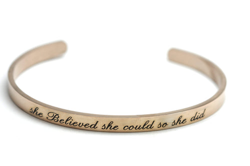 Newborn Feathers Rose Gold She Believed She Could So She Did Bangle