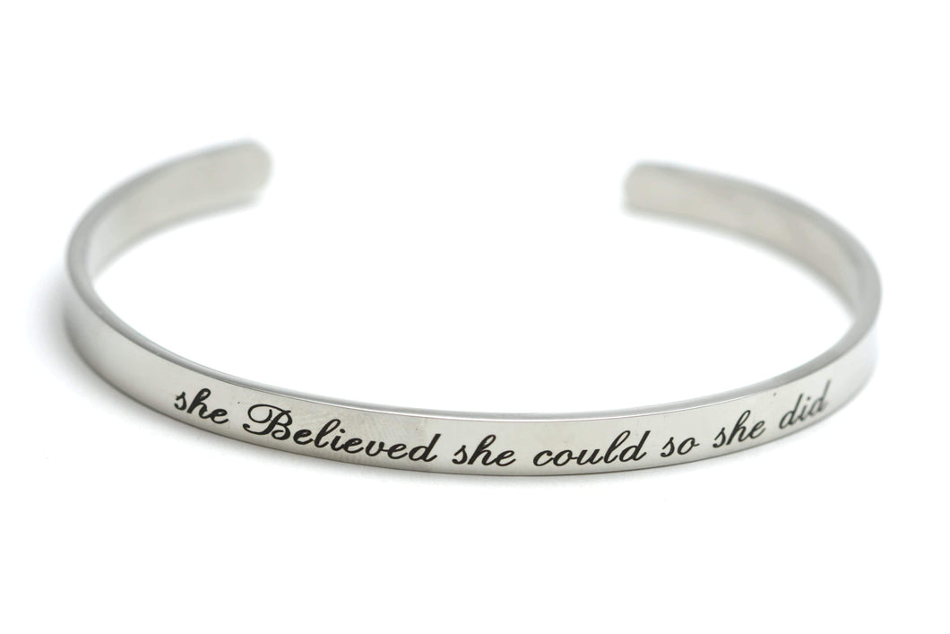 Newborn Feathers Silver She Believed She Could So She Did Bangle
