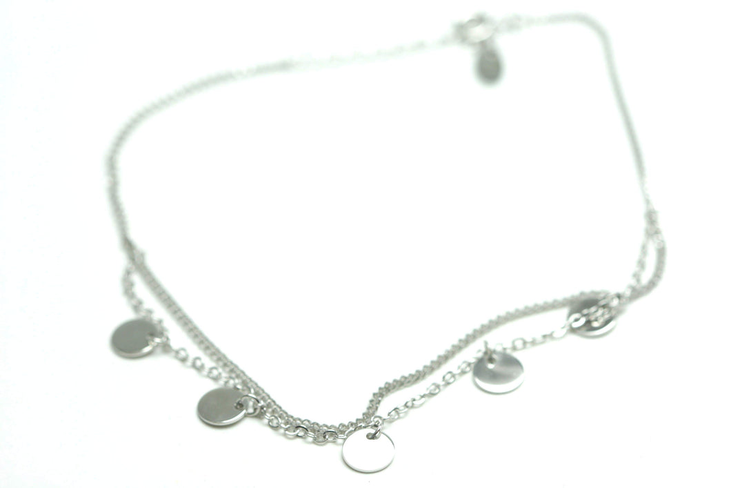 Newborn Feathers Sterling Silver Coin Disc Anklet