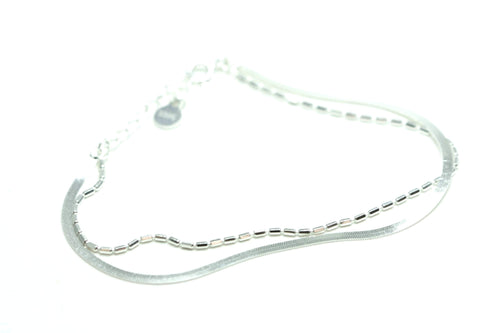 Newborn Feathers Sterling Silver Delicate Two Strand Bracelet