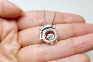 Newborn Feathers Sterling Silver Dolphin Necklace