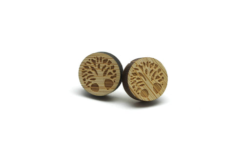 Newborn Feathers Tree of Life Wooden Earrings