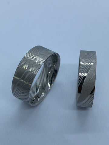 Stainless Damascus flat ring cores