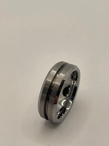 Thin line Brushed Tungsten 1.5mm channel ring core 8mm total width