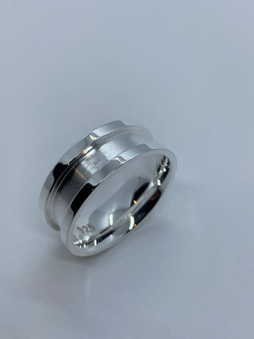 Silver inlay 8mm ring cores .925 sterling silver