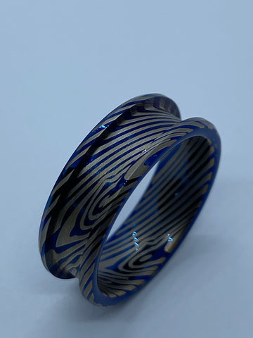 Blue tungsten Damascus patterned cores