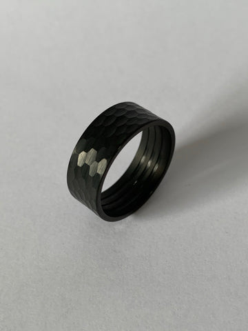 Hammered tungsten Black Brushed finish, outside ring core for interior wood inlay