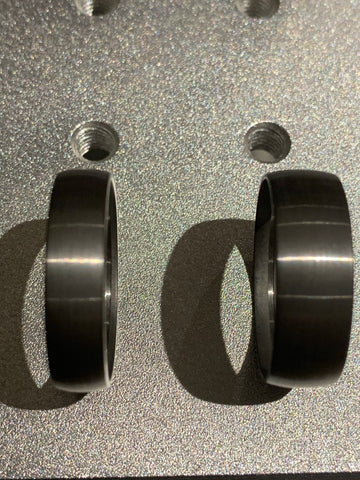 Domed Brushed Tungsten outside ring core for interior wood inlay