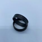 Black plated Tungsten with offset accent line,  outside ring shell for inlay inside