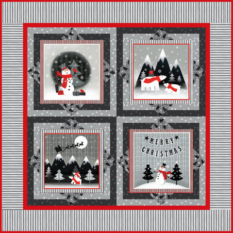 Red + Grey Christmas free quilt pattern