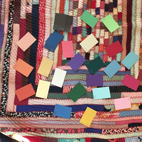 antique quilt with swatches