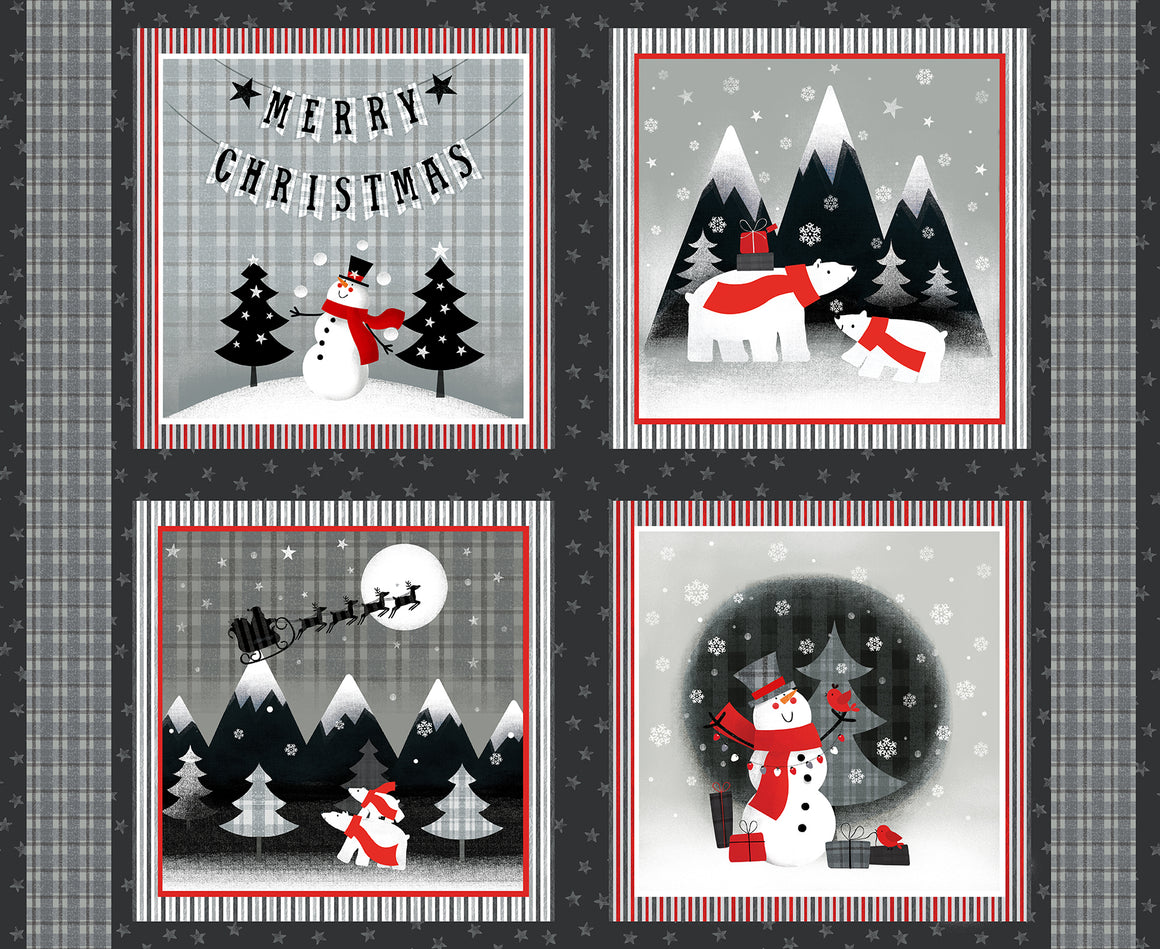 Red + Grey Christmas Panel 11418-6508