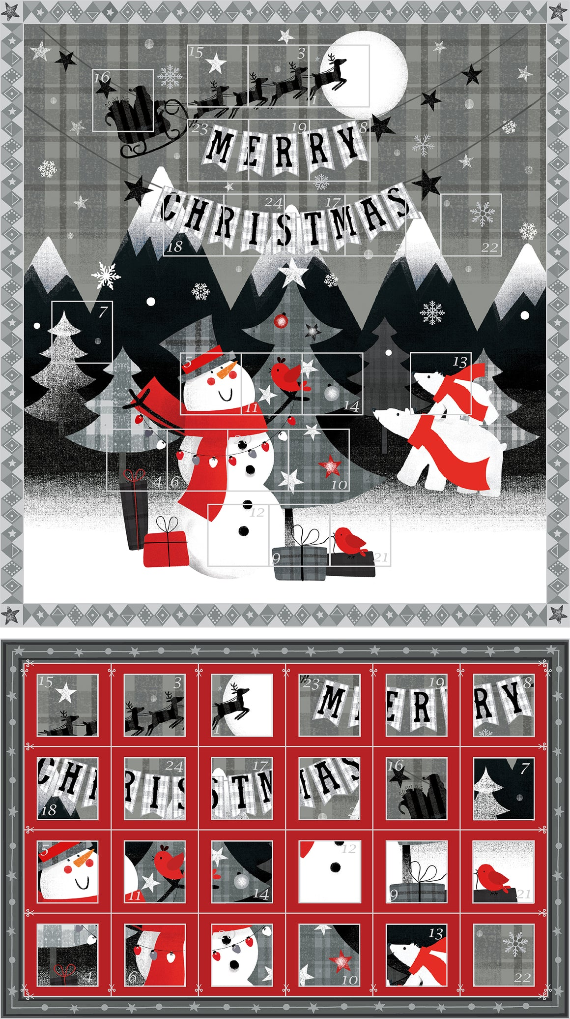 Red + Grey Christmas Advent Calendar Panel 11418-65091