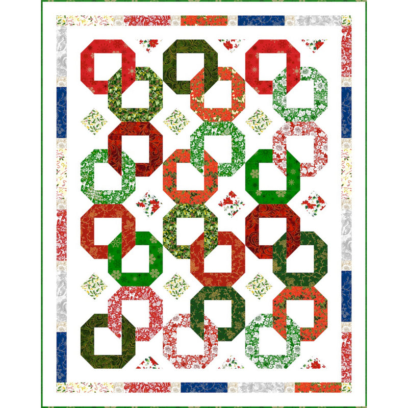"""Christmas Garlands"" Free Christmas Quilt Pattern designed by Sue Harvey & Sandy Boobar of Pine Tree Country Quilts from Paintbrush Studios"