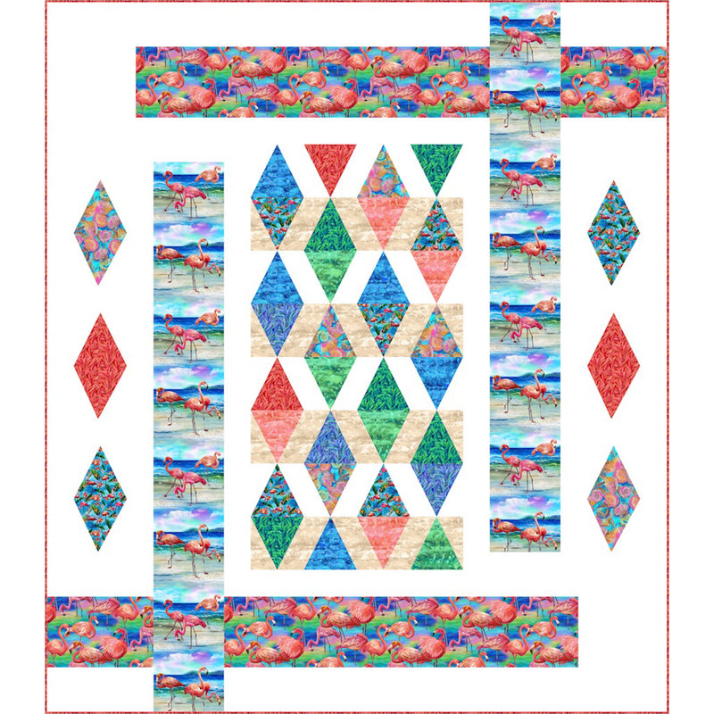 """Fabulous Flamingos Crossing"" Free Pattern designed by Pine Tree Country Quilts from Paintbrush Studio Fabrics"