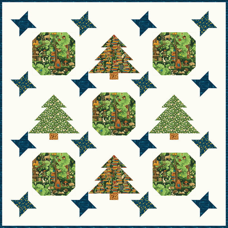 """Night in the Forest"" Free Christmas Quilt Pattern designed by Lisa Swenson Ruble from Paintbrush Studio"