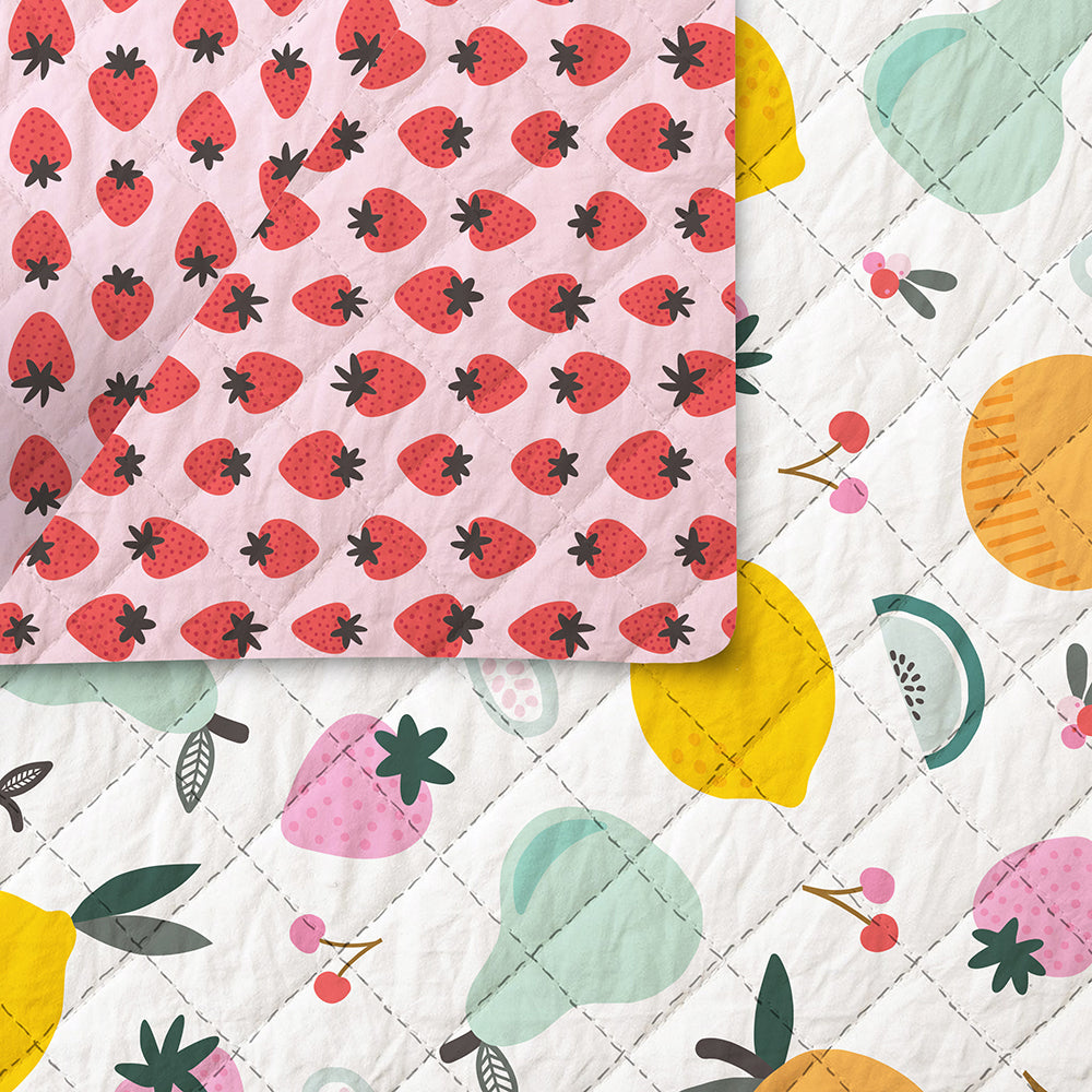 Fruity by Maja Faber for Paintbrush Studio FabricsCotton Fabric lemons in Navy Quilt Binding by the yard