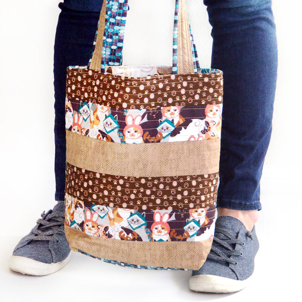 """Cat's Meow Tote"" Free Tote Bag Pattern designed & from Paintbrush Studio Fabrics"