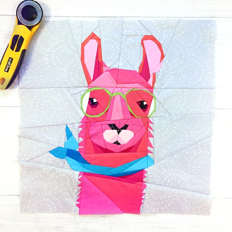 Hipster Llama Quilt Block Pattern by Quilt Art Designs