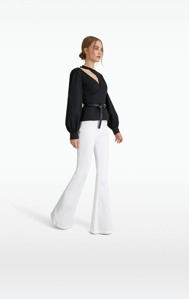 Halluana White Denim Trousers