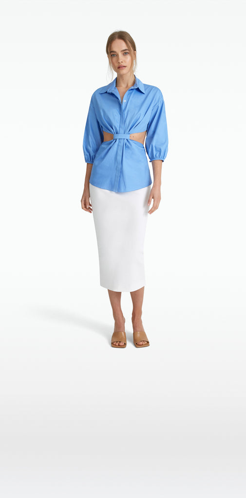 Stella Safiyaa Blue Cotton Shirt