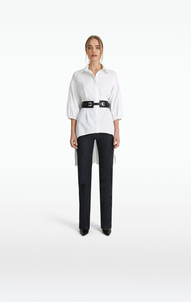 Greta White Cotton Blouse