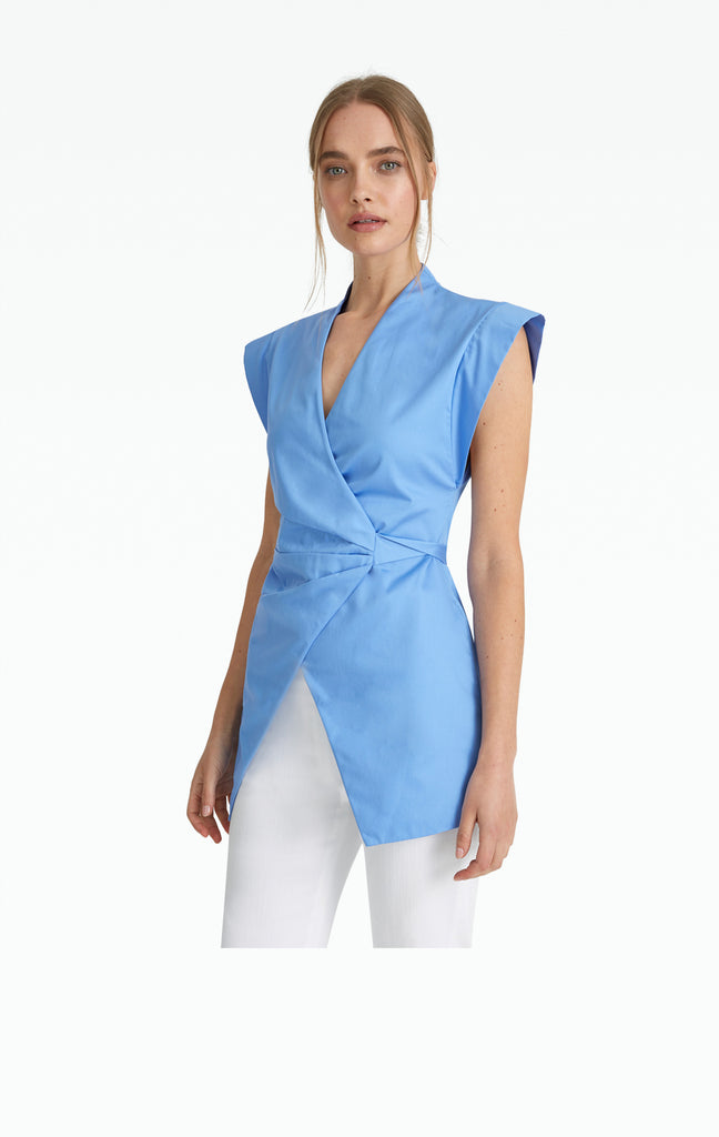 Taylor Safiyaa Blue Cotton Shirt