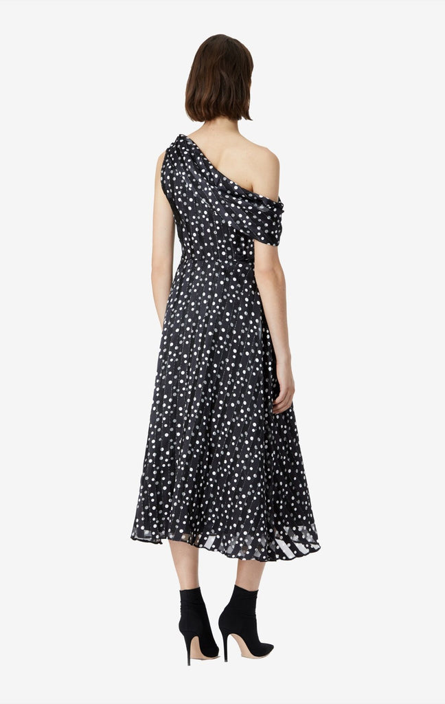 Tova Polkadot Shawl Neck Dress