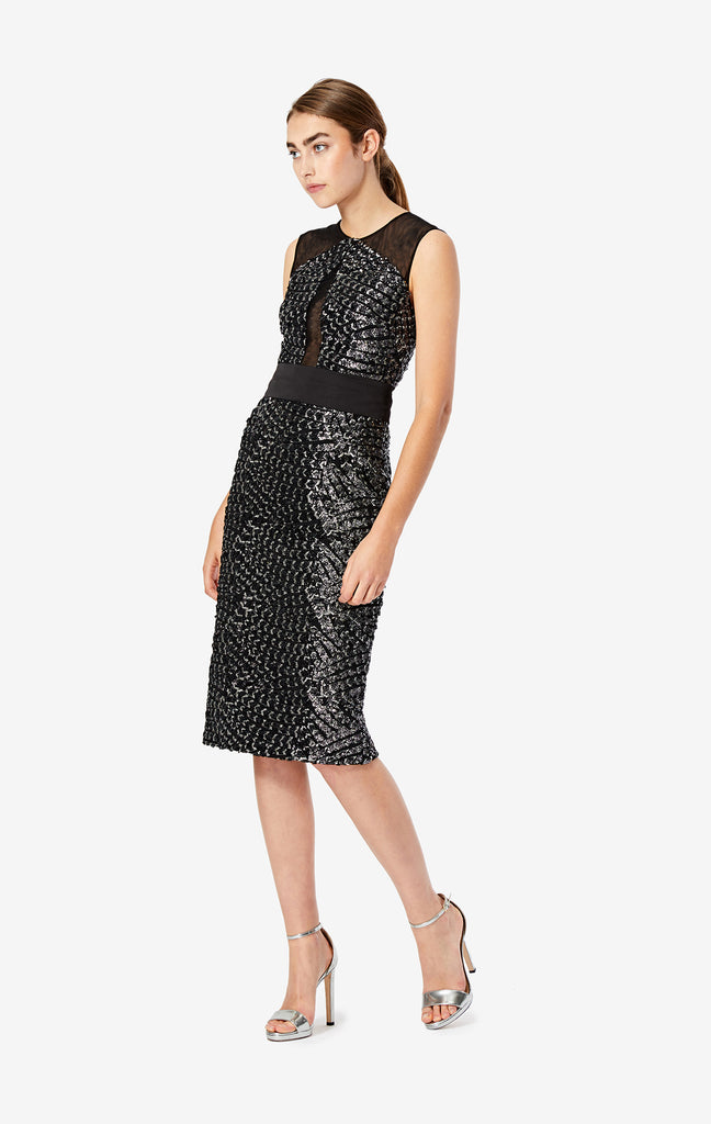 Aviana Sequinned Scale Mesh Dress