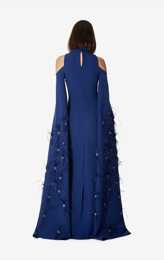 Dione Open Shoulder Feather Dress