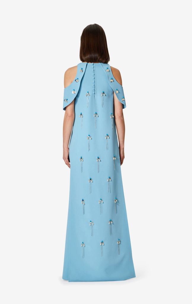 Tazanna Chain Embroidered Open Shoulder Dress
