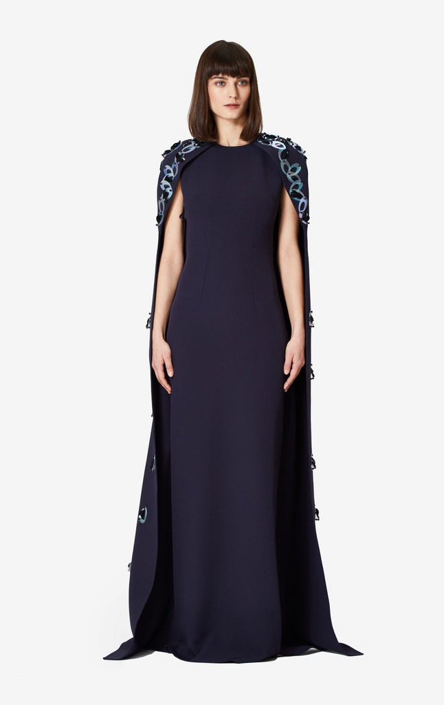 Celine Loop Embroidered Cape Dress