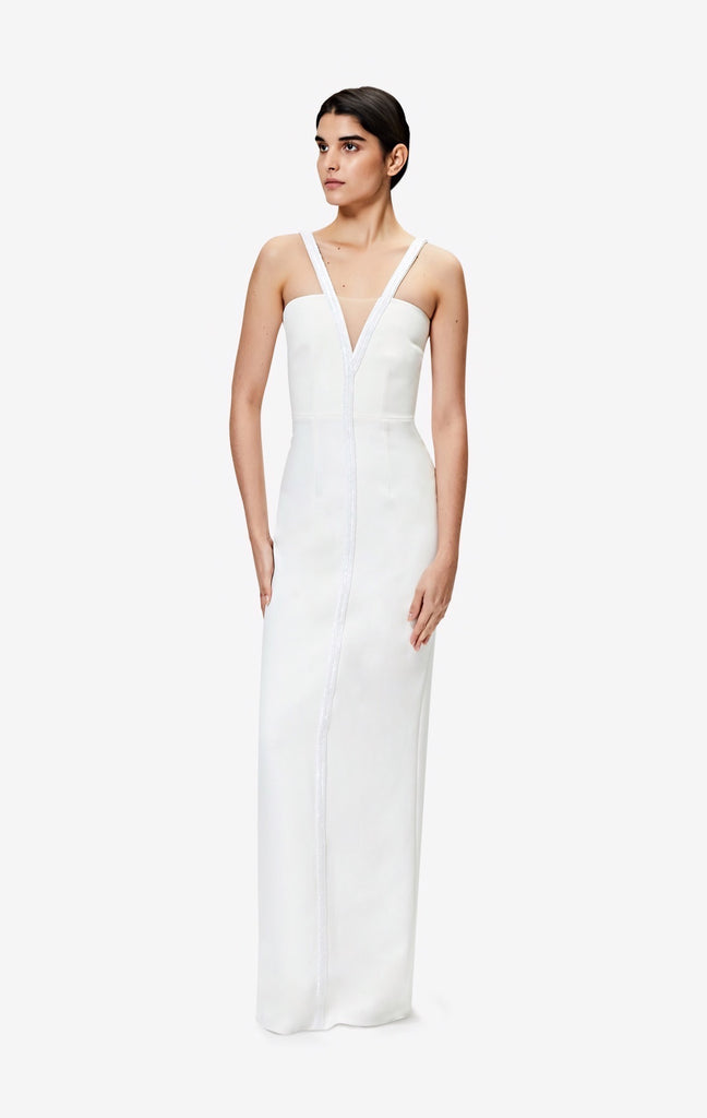 Capri V-neck Ivory Long Dress