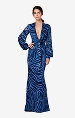 Evania Long Tiger Devore Dress