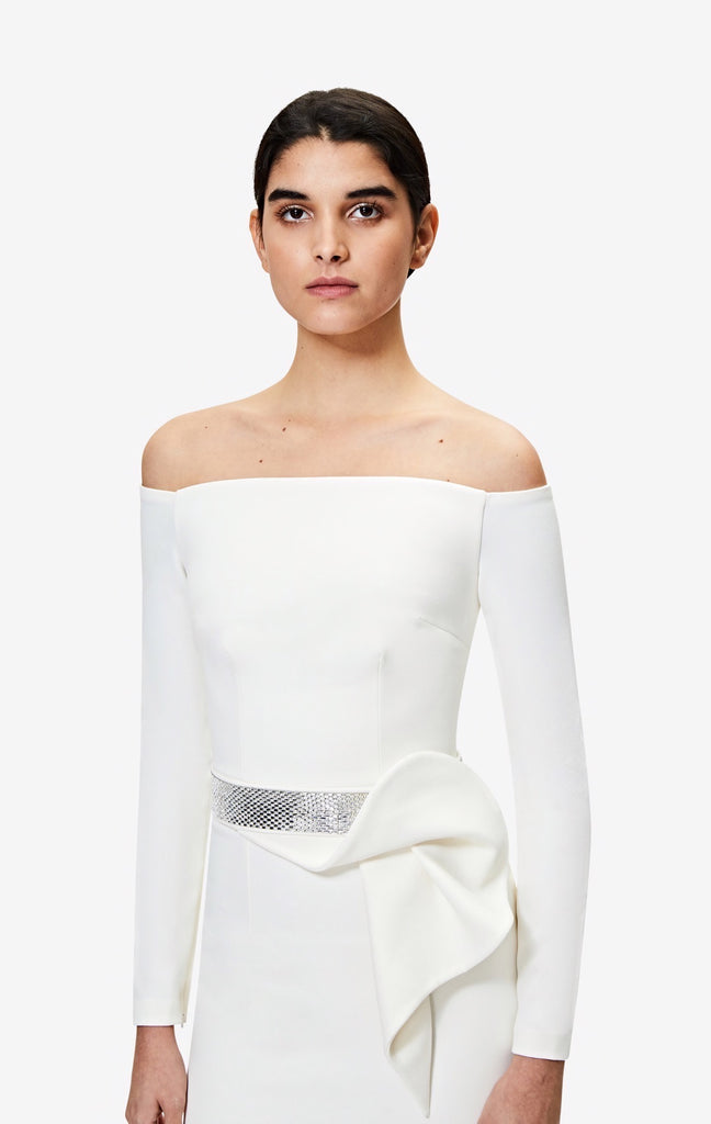 Veasna Off the Shoulder Ivory Gown