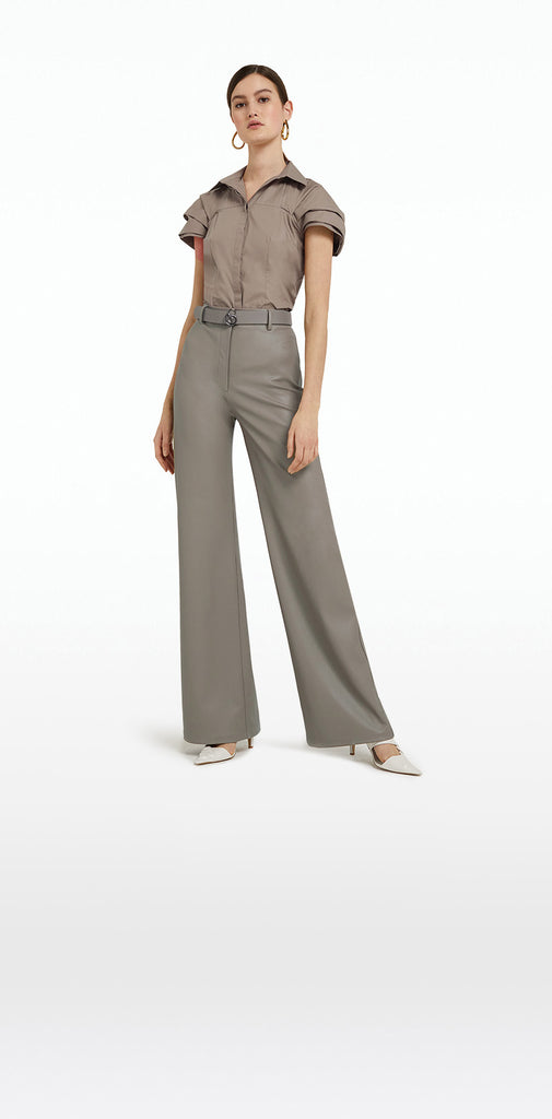 Narqis Taupe Vegan Leather Trousers