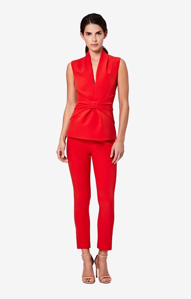 Adriana Scarlet Red Slim Leg Trousers